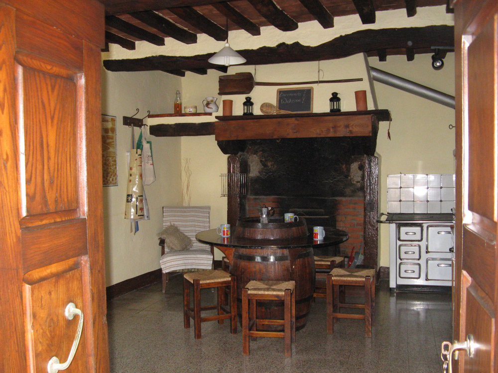 Enter into the traditional kitchen. (The modern part is not visible in the photo)