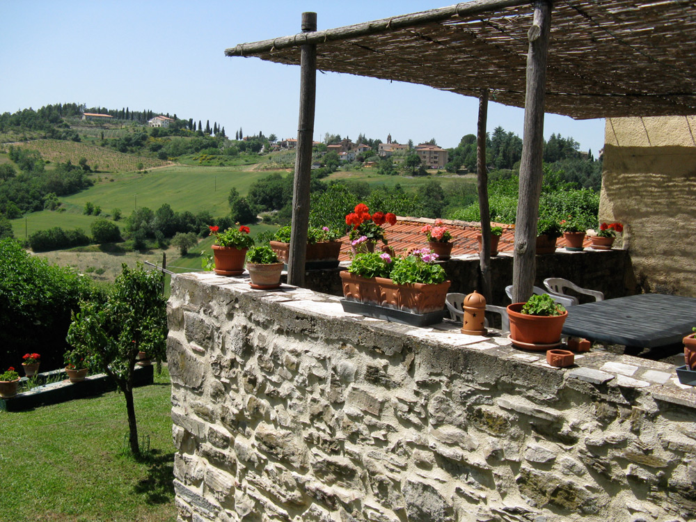 View of Lippiano from the terrace. A leisurely 15-minute walk will take you to the village